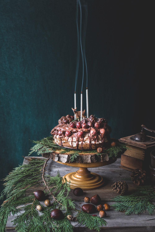 Wegański tort z kremem kasztanowym